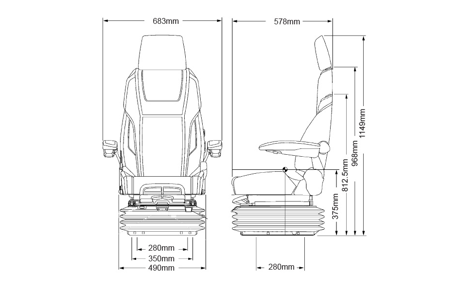 KAB 61K4 Seat Specification Line Drawing
