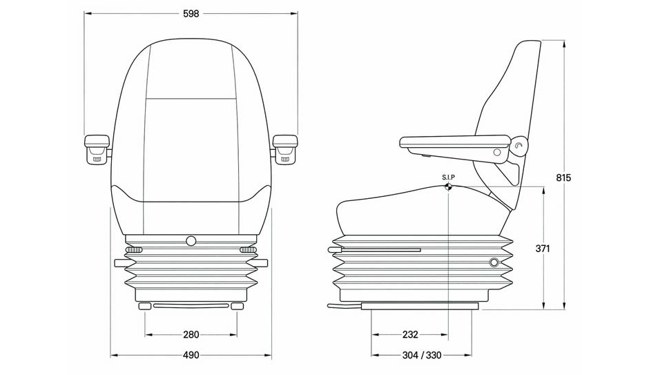 KAB 515 Seat Specification Line Drawing - Marine